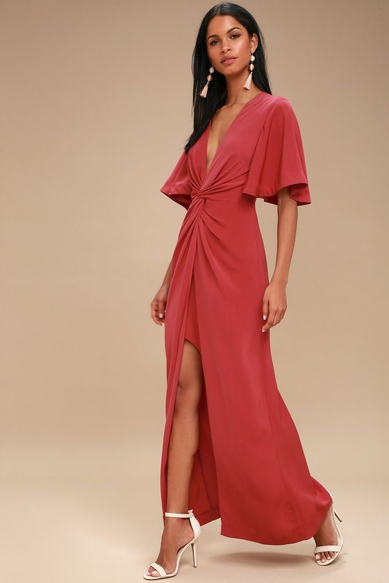 NO LOVE WASHED RED KNOTTED MAXI DRESS