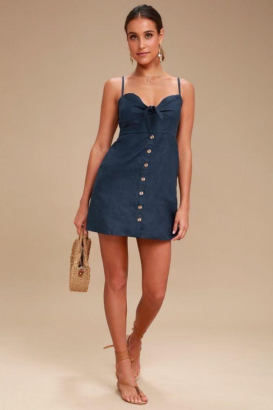 RODEO NAVY BLUE TIE-FRONT DRESS