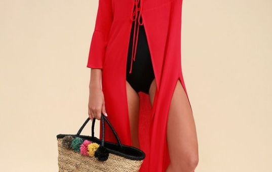 SEA PARTY RED LACE-UP COVER-UP