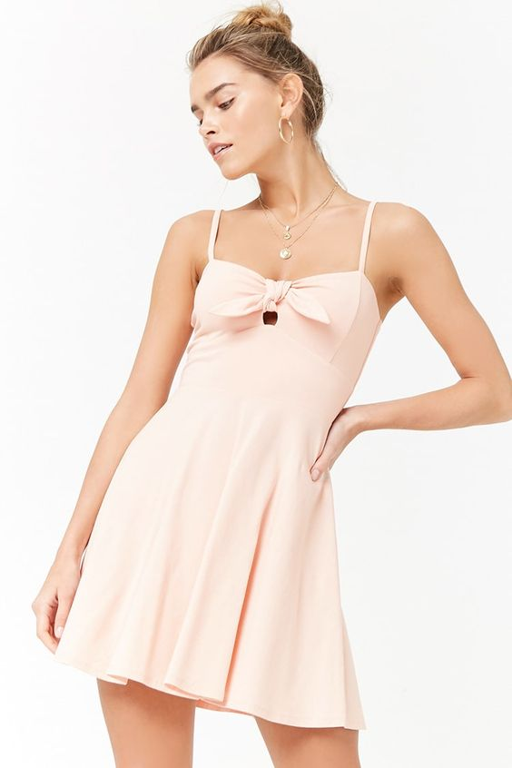 Tie-Front Cami Skater Dress