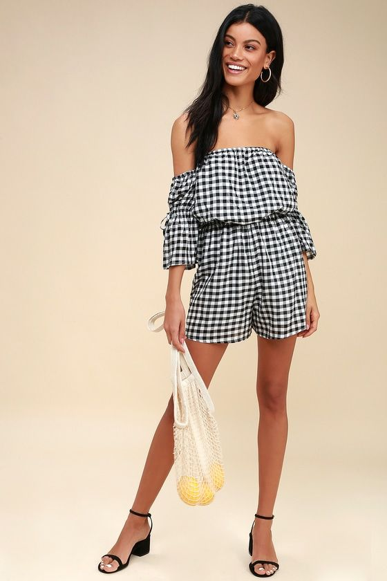 BRADLEY BLACK AND WHITE GINGHAM OFF-THE-SHOULDER ROMPER