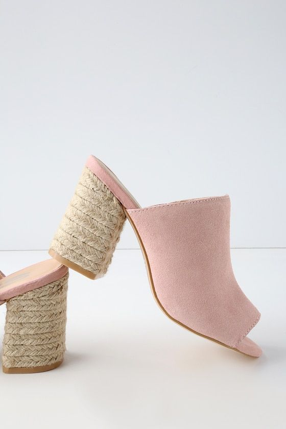 HELENA BLUSH SUEDE LEATHER ESPADRILLE MULES