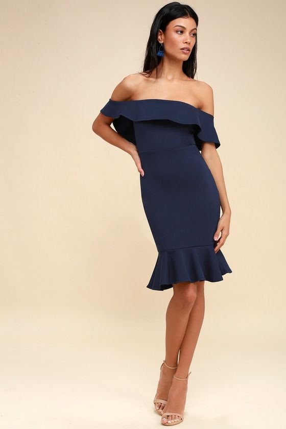CONFIDENCE BOOST NAVY BLUE OFF-THE-SHOULDER BODYCON DRESS
