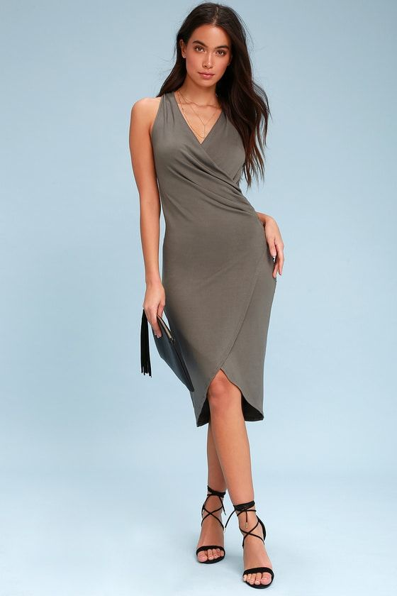 ALL THE RIGHT MOVES CHARCOAL GREY BODYCON WRAP DRESS