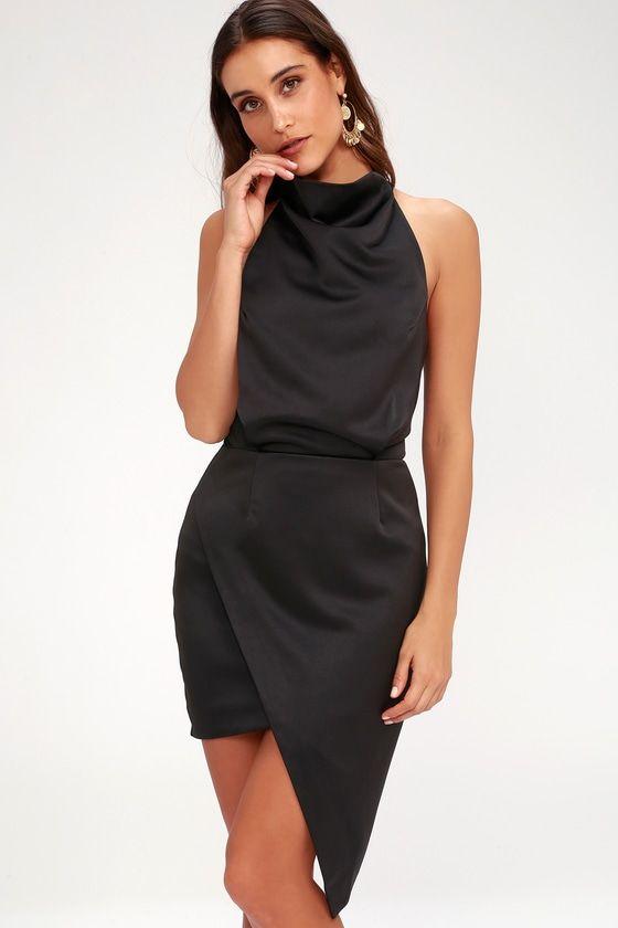 CAMO BLACK HALTER DRESS
