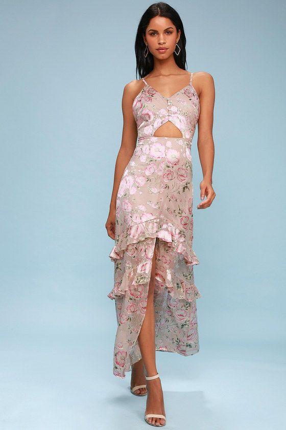 MAGNOLIA BLUSH FLORAL PRINT SILK CUTOUT MAXI DRESS