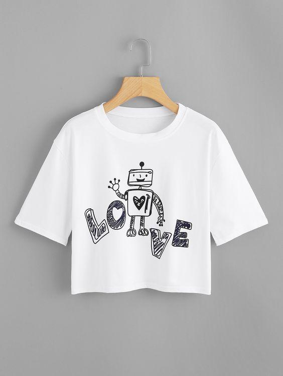 Graphic Print Crop Tee