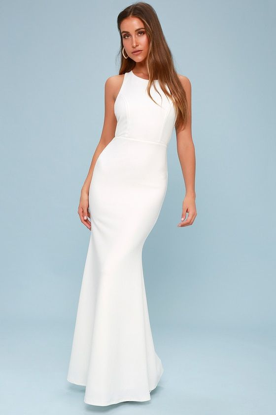 POWER OF WOW WHITE BACKLESS MAXI DRESS