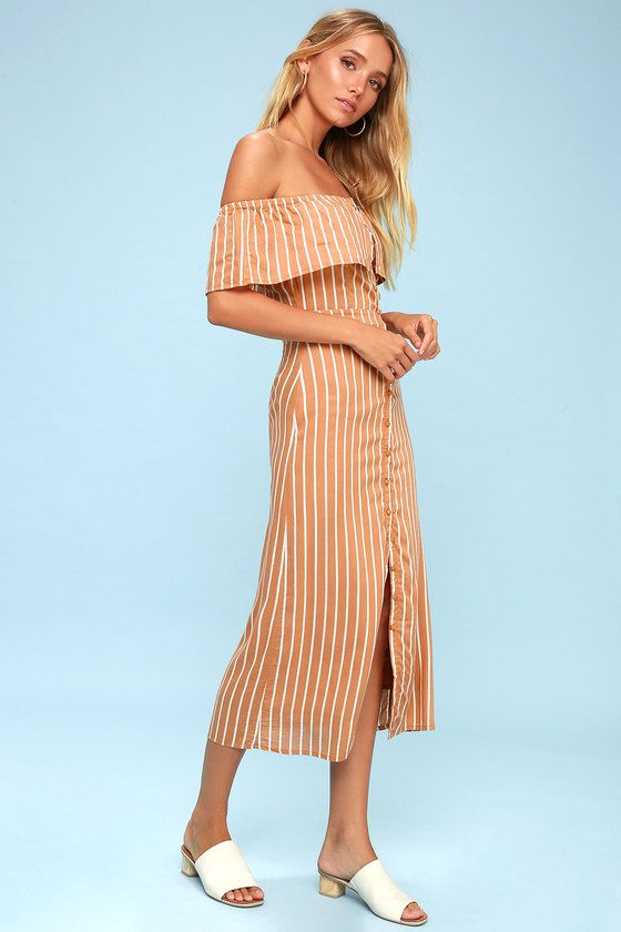 ROUNDABOUT LIGHT BROWN STRIPED BUTTON-UP OFF-THE-SHOULDER DRESS AMUSE SOCIETY