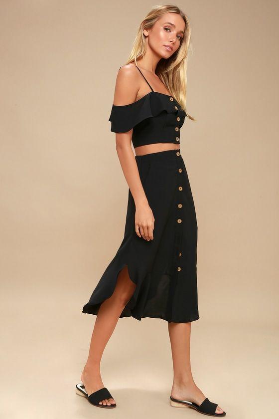 MALTA BLACK OFF-THE-SHOULDER BUTTON-UP TWO-PIECE DRESS