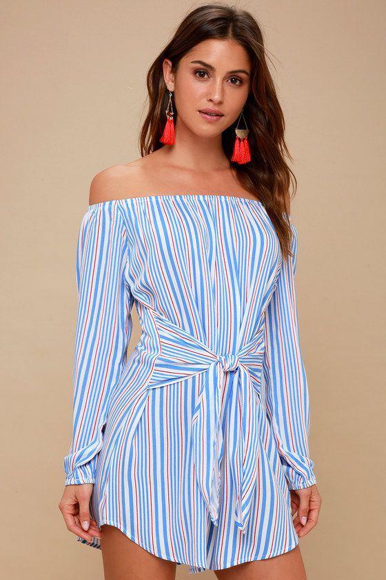 CAPE COD RED, WHITE, AND BLUE STRIPED OFF-THE-SHOULDER DRESS