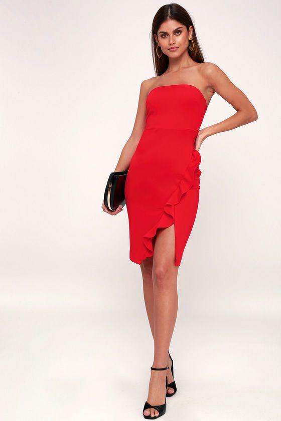 Anika Red Ruffled Strapless Bodycon Dress Petite Looloo