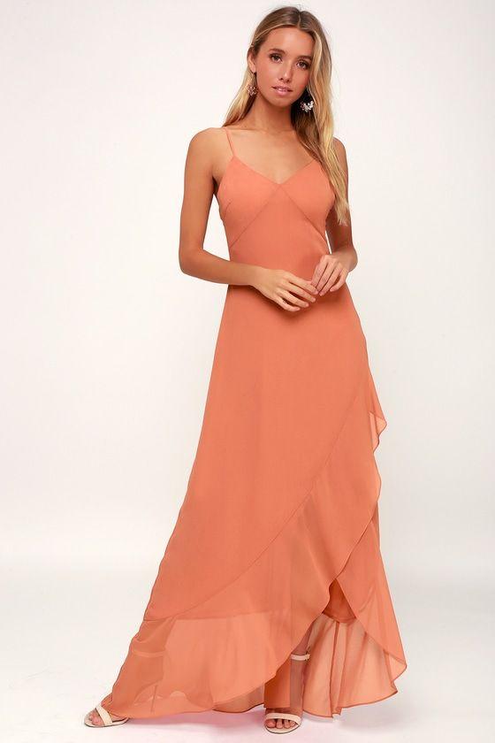 ADA RUSTY ROSE LACE-UP MAXI DRESS
