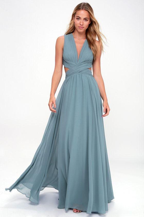 VIVID IMAGINATION SLATE BLUE CUTOUT MAXI DRESS