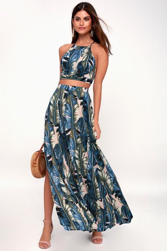 BACK TO YOUR ROOTS TEAL BLUE LEAF PRINT TWO-PIECE MAXI DRESS