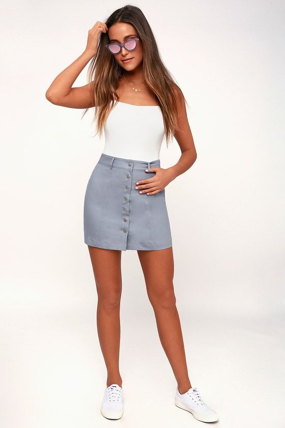 AIRES SLATE BLUE BUTTON-UP MINI SKIRT
