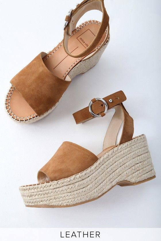 LESLY SADDLE BROWN SUEDE LEATHER ESPADRILLE WEDGES