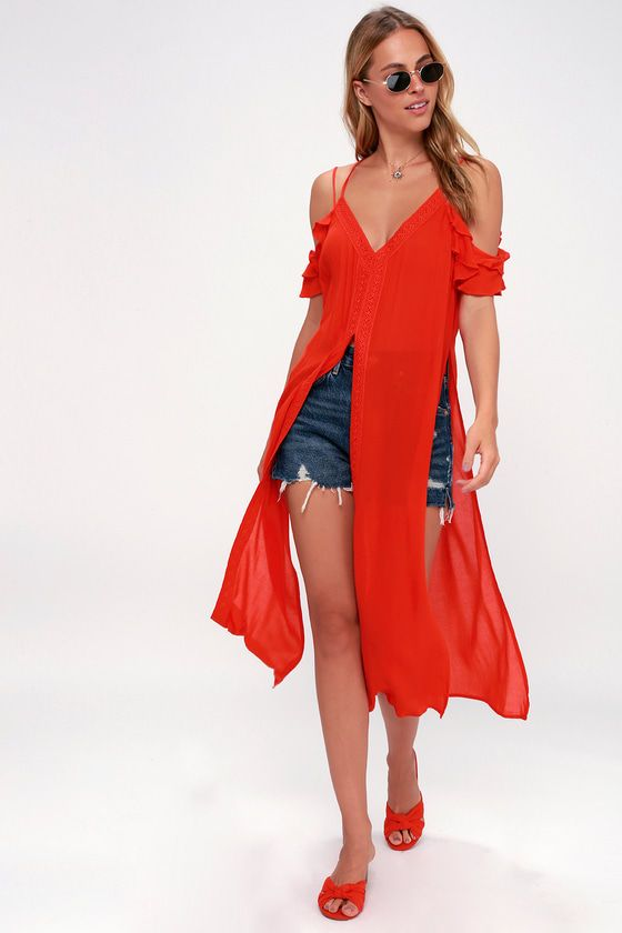 SANDY CAY RED CROCHETED COVER-UP