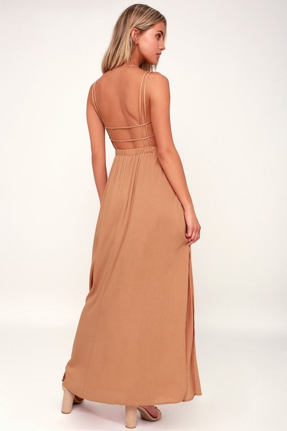 LOST IN PARADISE LIGHT BROWN MAXI DRESS