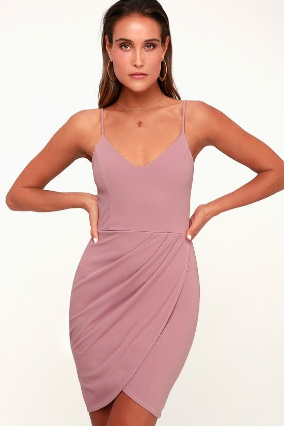 FOREVER YOUR GIRL MAUVE PINK BODYCON DRESS