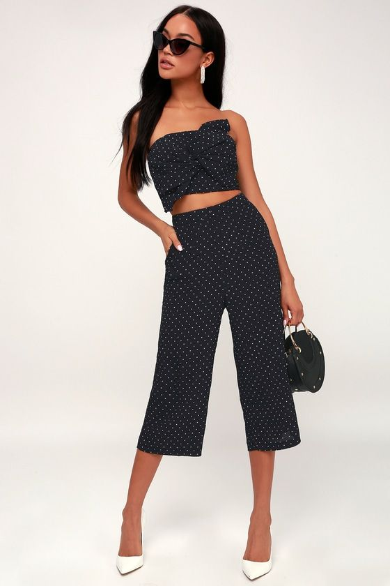 MORAINE NAVY BLUE POLKA DOT STRAPLESS CROP TOP AND NEPTUNE NAVY CULOTTE PANTS
