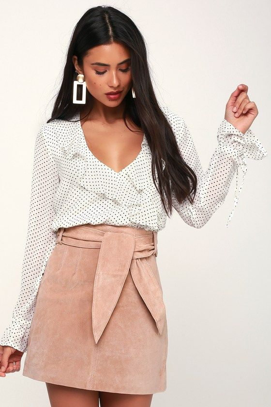 CANDY CRUSH BLUSH PINK SUEDE LEATHER MINI SKIRT