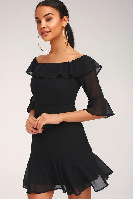 ROMANTIC MOOD BLACK OFF-THE-SHOULDER DRESS