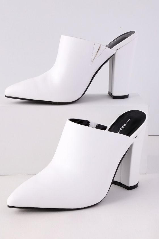 FINCH WHITE POINTED TOE MULES