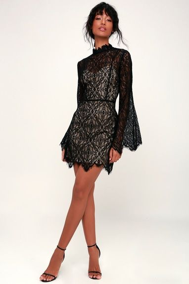 CARSON NUDE AND BLACK LACE BELL SLEEVE MINI DRESS