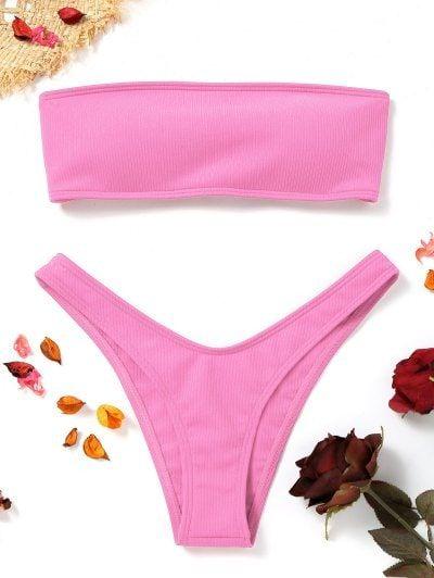 High Cut Ribbed Bandeau Bikini Set