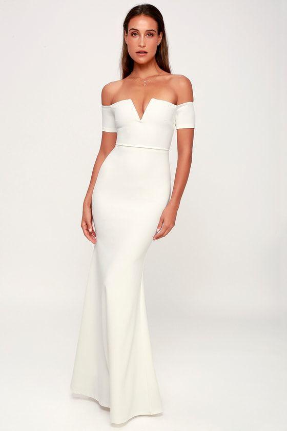 LYNNE WHITE OFF-THE-SHOULDER MAXI DRESS