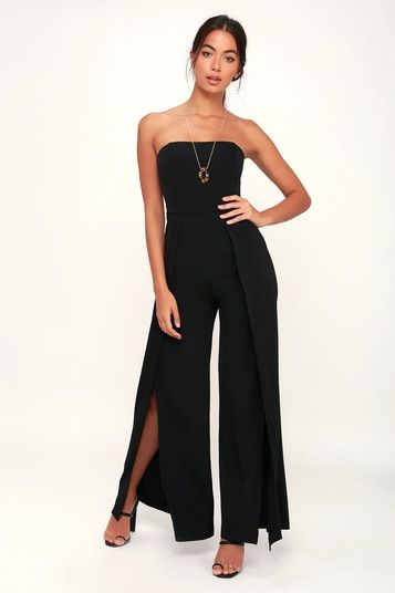 COUNT ME IN BLACK STRAPLESS WIDE-LEG JUMPSUIT