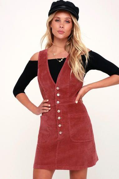 WANDER MY WAY RUSTY ROSE CORDUROY PINAFORE DRESS
