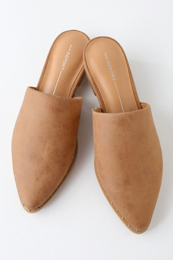IRA TAN SUEDE POINTED TOE MULES