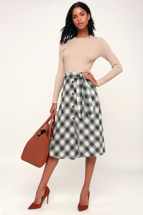 YOU'RE SO PLAID GREEN PLAID BUTTON-FRONT MIDI SKIRT