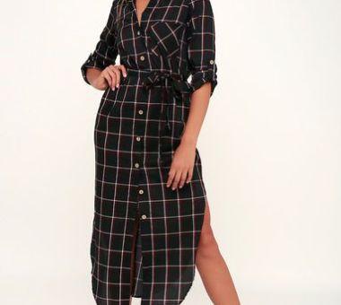 MONMARTRE BLACK PLAID BUTTON-UP SHIRT DRESS