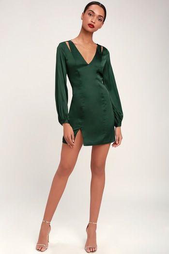 AMANDA FOREST GREEN SATIN CUTOUT LONG SLEEVE DRESS
