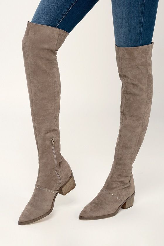 ZARIA TAUPE SUEDE OVER THE KNEE BOOTS