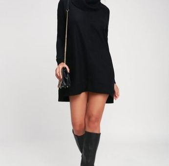 AUTUMN DAZE BLACK COWL NECK LONG SLEEVE SWEATER DRESS