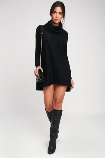 AUTUMN DAZE BLACK COWL NECK LONG SLEEVE SWEATER DRESS