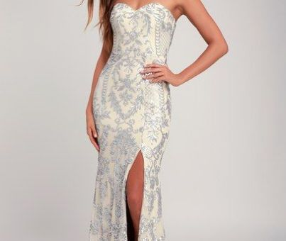 ELLE NUDE AND SILVER SEQUIN STRAPLESS MAXI DRESS