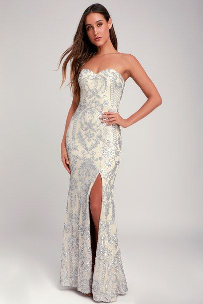 ELLE NUDE AND SILVER SEQUIN STRAPLESS MAXI DRES