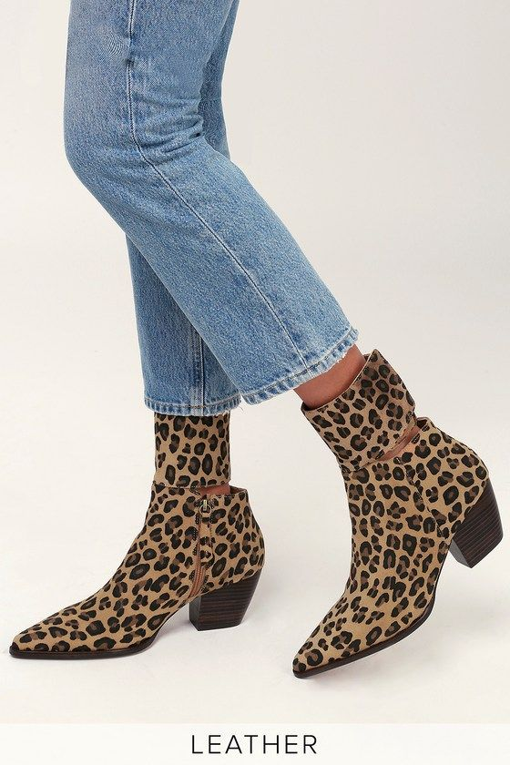 GOOD COMPANY LEOPARD SUEDE LEATHER POINTED TOE MID-CALF BOOTIES