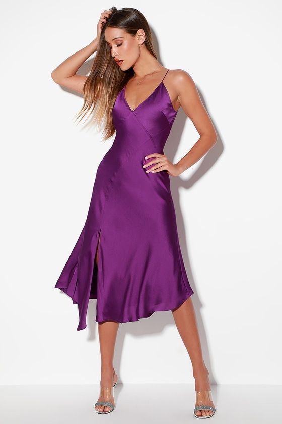 INFINITY PURPLE SATIN SLEEVELESS MIDI DRESS