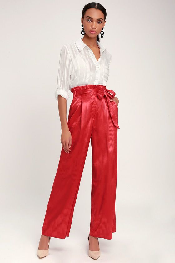 HAUTE TO TROT RED STRIPED SATIN WIDE-LEG PANTS