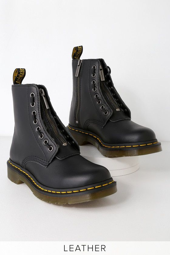 1460 PASCAL BLACK NAPPA LEATHER FRONT ZIP BOOTS