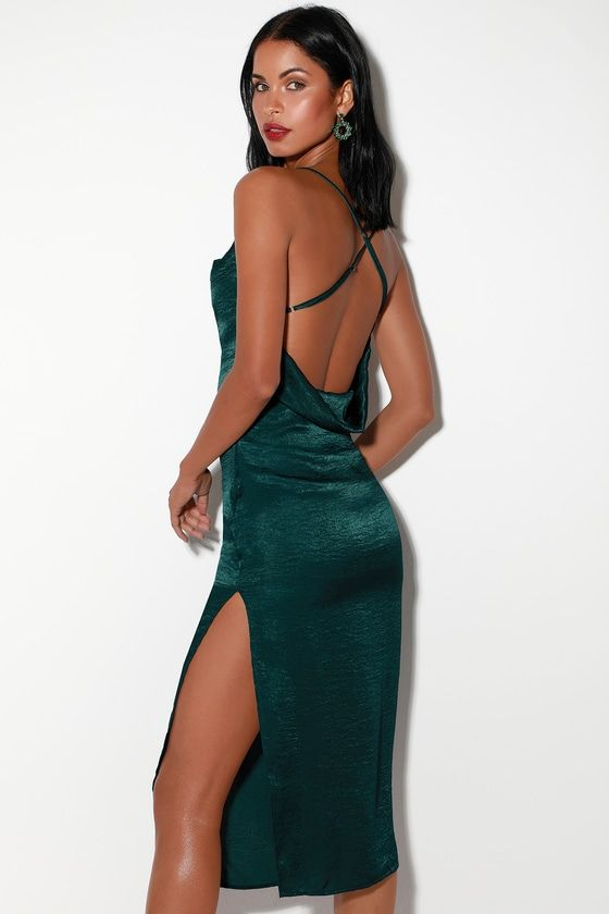 AWARD WINNER TEAL GREEN SATIN SLEEVELESS MIDI DRESS