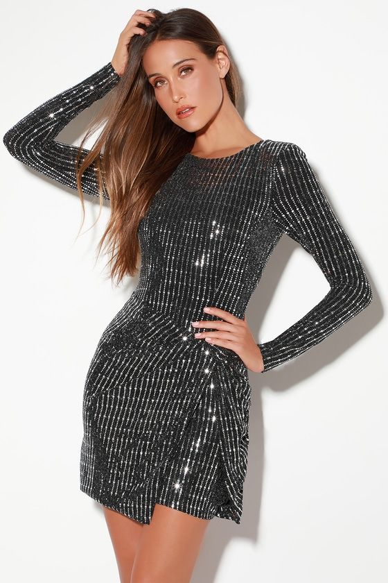 ON THE LIST BLACK AND SILVER LONG SLEEVE BODYCON DRESS