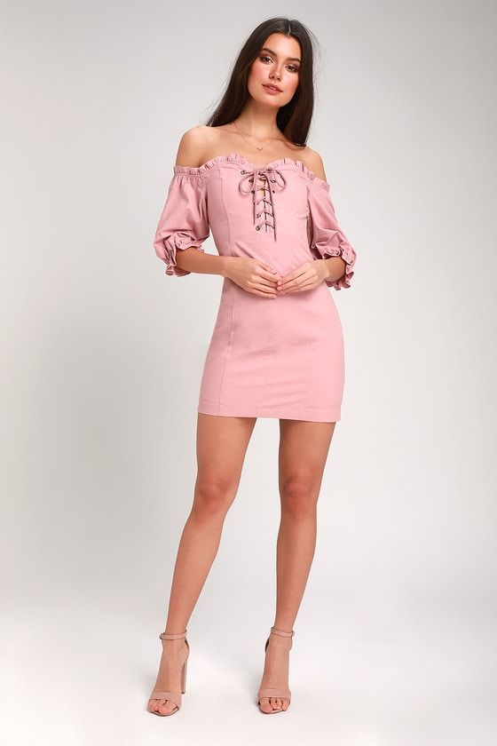SEE YA LATER MAUVE PINK OFF-THE-SHOULDER LACE-UP DRESS