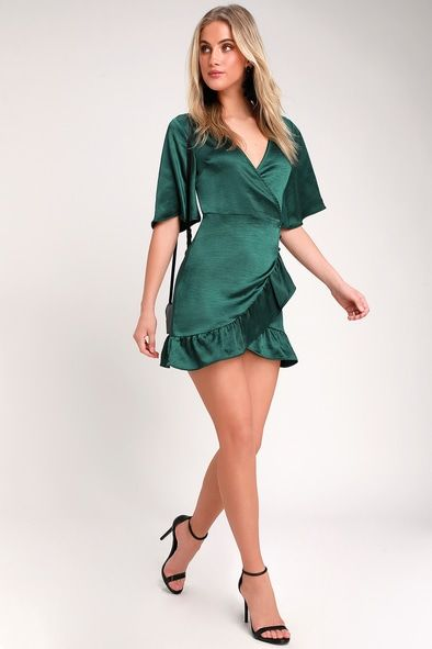 READY FOR ROMANCE DARK GREEN SATIN MINI WRAP DRESS